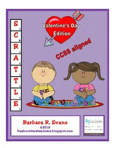 Scrattle is a learning center activity that combines word work with computation; individual effort with competition. So much fun, they won't realize they are learning! FREE! #CCSS #Gifted #Scrattle  #holidays #criticalthinking #higherorderthinkingskills #ValentinesDay #enrichment #BarbEvans #itsabouttimeteachers #math #vocabulary