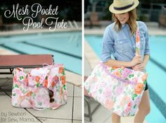 Sewbon.com || Oilcloth Pool Tote with Mesh Pockets || By Sewbon for Sew, Mama, Sew