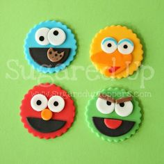 Sesame Street Fondant Cupcake Toppers by Sugared Up  www.sugareduptoppers.com