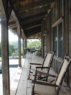 Board and batten siding creates a rustic cowboy porch