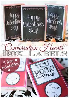 At U Create, you can find these adorable Valentine's Day Printable Conversation Box Labels to print for free! heart box, valentine day, valentin convers, box label, box printabl, brach convers, convers heart, holiday valentin, heart printabl