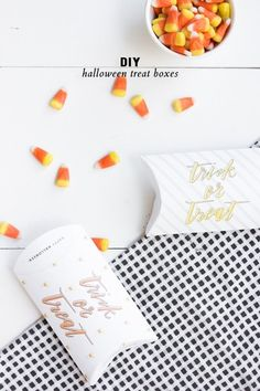 DIY Trick or Treat Boxes #halloween  Source: Lark & Linen - www.jacquelynclark.com/2014/10/15/diy-halloween-treat-boxes/  View entire slideshow: Decorating for a Chic Halloween on http://www.stylemepretty.com/collection/729/