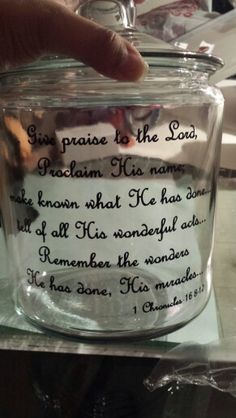 Blessings jar, keep track of all the wonderful blessings throughout the year.