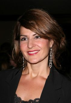 Nia Vardalos brunette, updo hairstyle
