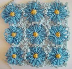Flower looms:simple crochet edging and join with picots