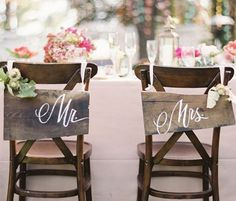 DIY Wedding Table Decoration Ideas - Bride n Groom Wedding Chairs - Click Pic for 46 Easy DIY Wedding Decorations