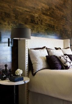 Floorboards used on the wall. Dark & Moody Walls for a Cozy Bedroom
