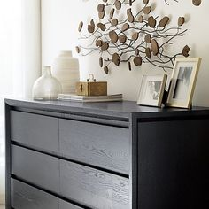 Lang 6-Drawer Dresser with Teakroot Discs Wall Art | Crate and Barrel