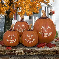 These would be awesome at the front door or as a centerpiece! Personalized Jack-O-Lantern Halloween Pumpkins Home Décor - available in large or small pumpkins.