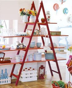 recycl ladder, wooden ladder, craft, lemast hous, ladder idea