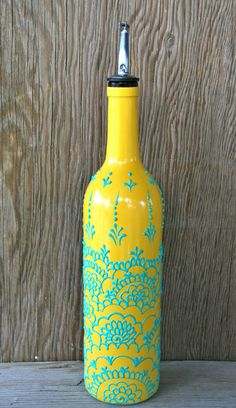 Hand Painted Wine bottle Olive Oil Pourer, Sunny Yellow and Aqua Green, Moroccan style design, Olive Oil Dispenser