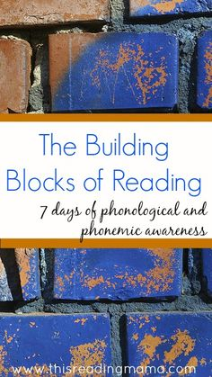 The Building Blocks of Reading: Phonological and Phonemic Awareness~ 7 Day Series including articles and free resources for teaching rhyming, syllables, phoneme isolation, phoneme blending, phoneme segmentation, and nursery rhymes! | This Reading Mama