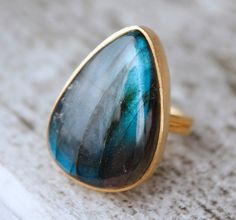 Gold Labradorite Ring