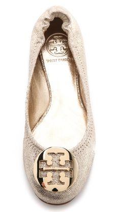Tory Burch Reva Metallic Ballet Flats $235.00 Color: Platinum/Gold