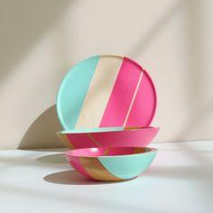 Modern Neon Hardwood Serving Bowl by nicoleporterdesign on Etsy, $150.00