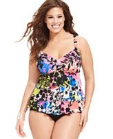 Swim Solutions Plus Size Tiered Floral-Print Tankini Top & High-Waist Brief Bottom