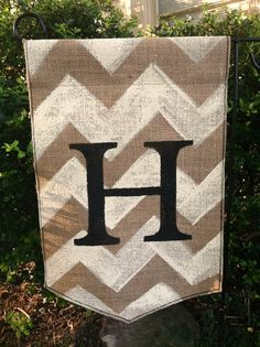 Burlap Garden Flag with Monogram and Chevron