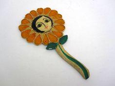Sunflower Mirror - Handheld Folk Art Mirror - Girls Mirror.