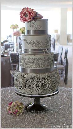 Gray & Pink Romantic Rosette Wedding Cake idea, cake wedding, cake design, wedding cakes, grey, pink, pastri, silver weddings, flower