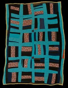 """Deborah Pettway Young (American, 1916-1997). """"Roman Stripes"""" variation, c. 1960.  The Quilts of Gee's Bend exhibit at the Cleveland Art Museum american quilt, bend quilt, slave quilt"""