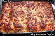 Fresh out of the oven Easy Homemade Lasagna - I used the no boil lasagna and it took less than 30 minutes to get it into the oven! Delicious