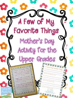FREE Mothers Day Activity for the Upper Grades {A Few of