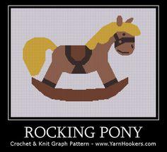 Rocking Pony - Afghan Crochet Graph Pattern Chart by Yarn Hookers.com, $5
