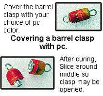 How-to tutorial - covering a barrel clasp with clay for a fancy, colorful, completely matching-the-necklace clasp!! February 2001 Polyzine