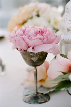 Tarnished silver. Great idea for floral decor.