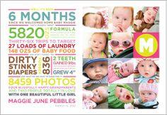 "@Jennifer Pebbles Maggie's ""announcement"" graphic design, 6 months, birthday invitations, birth announcements, baby books, first birthdays, scrapbook pages, 1st birthdays, 1 year"