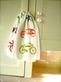Bicycle Tea Towel/ flour sack towel