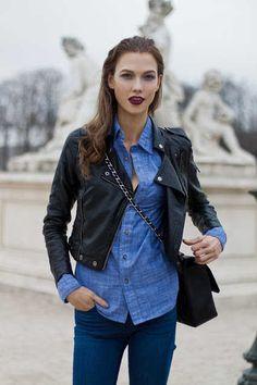 Denim & leather. Deep purple lips