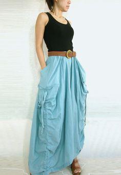 Spring Summer Skirt - Lagenlook Unique Big Pockets Light Blue Long Maxi Skirt - SK001