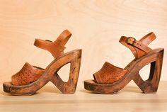 1970s Wood Platform Shoes