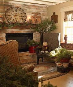 living rooms, clock, mantel, primitive christmas, primitive country, christmas primitive rooms, country christmas, primitive living room, live room