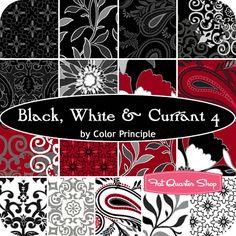 Black, White & Currant 4 Fat Quarter Bundle Color Principle for Henry Glass Fabrics