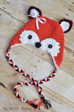 Crochet Fox Hat - Free Pattern by The Stitchin' Mommy www.thestitchinmommy.com-Cutest hat ever!!!! For 1-3 yrs old...