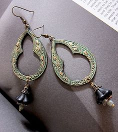 Tear Garden VERDIGRIS filigree earrings ROMANTIC by angelcake, $24.00