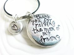 Thank You For Raising The Man Of My Dreams Keychain - Personalized, Hand Stamped Wedding Keychain - Mother in Law Gift on Etsy, £18.15