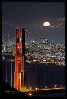Full moon over Golden Gate Bridge.