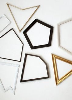 Picture frames in different shapes.