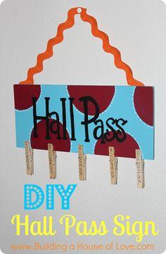 DIY Hall Pass Sign Button