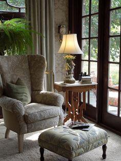 Cozy corner of the bedroom- love the French door.