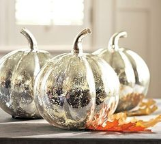 Looking glass spray can transform pumpkins into these gorgeous centerpieces! Use a white spray first to get the best effect. Try this with dollar store pumpkins.  Krylon K09033000 Looking Glass Mirror-Like Aerosol Spray Paint, 6-Ounce