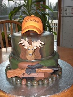 Hunting Theme Cake By Kerry_Kake on CakeCentral.com.....a cake for some of the men in my life!