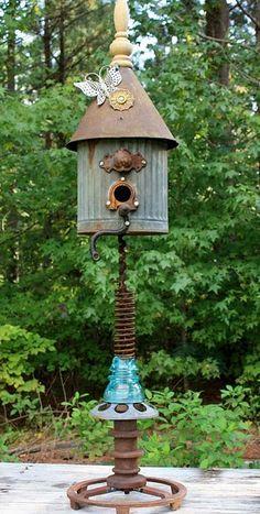 junk birdhouse