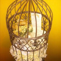 bouquet, bird cage, veil