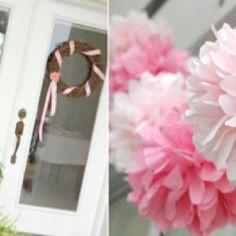 baby shower decorations, vintage weddings, front door, tissu paper, paper pom poms