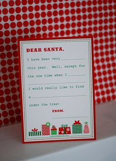 Letter to Santa template and Christmas wish list...cute for kids