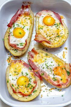 Double Baked Bacon + Egg Potatoes for Super Creative and Clean Breakfast Idea!